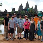 Danielle Gerhard and her group outside Angkor Wat in Cambodia