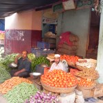 Vendors at an outdoor market in India