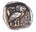 The owl symbol of ancient Athens, Greece