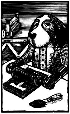 Smokey woodcut