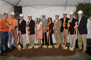 Participants in the groundbreaking ceremony photo, left to right: Former SGA President James Kirkland (1997-1998); Steve Fritz from architectural firm Barge, Waggoner, Sumner, Canon; UT System Interim President Jan Simek; UT Knoxville Chancellor Jimmy G. Cheek; Former SGA President Laura Nishida (2009-2010); Director of UT Rec Sports Rex Pringle; UT Knoxville Dean of Students Maxine Davis; Former SGA President Jeff Wilcox (2008-2009); Current SGA President Tommy Jervis; Former SGA President Will Carver (1999-2000); and UT Knoxville Vice Chancellor for Student Affairs Tim Rogers.