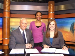 """""""UT Today"""" anchors, from left: news anchor Sloan Mitchell (seated), sports anchor Staisha Patterson (standing), news anchor Whitney Burk (seated)."""