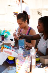 Students unwind with some arts and crafts at the 2009 VolAware Street Fair.