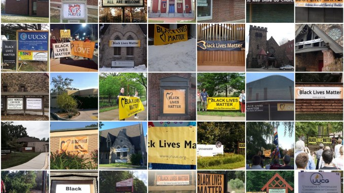 Black Lives Matter banners at UU churches across America