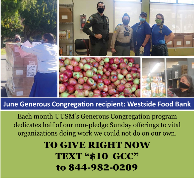 June Generous Congregation supports the Westside Food Bank