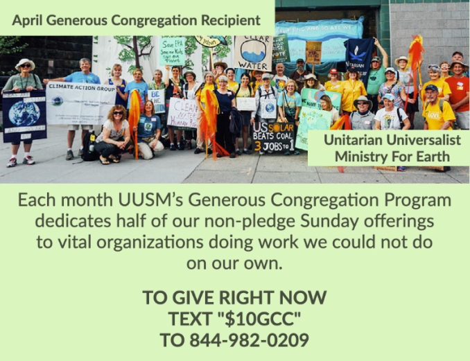 April Generous Congregation supports UU Ministry For Earth