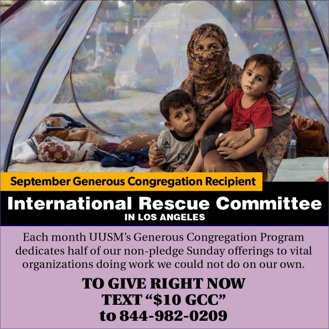September Generous Congregation supports the International Rescue Committee in Los Angeles