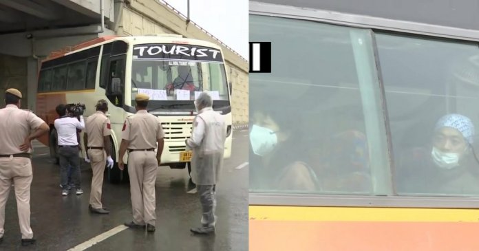 A bus carrying 14 Japanese from Rishikesh to delhi was stopped by police