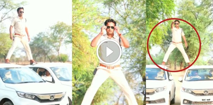 Viral Video : SI become Singham during lockdown, Watch stunt video