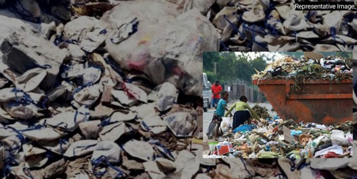 Children picking up discarded mask from Garbage in Dehradun, Chennai company fined for it