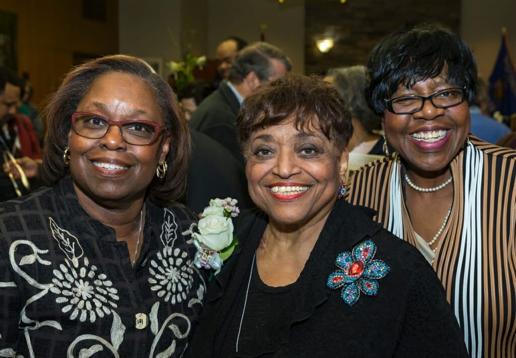 Honoree Barbara Nichols, center, with community colleagues Frances Huntley-Cooper, left, and Theresa Sanders, right.