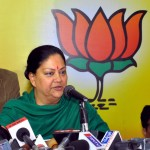 BJP Rajsthan President Vasundhara Raje addresses a press conference in Jaipur on Dec.9, 2013. (Photo: IANS)
