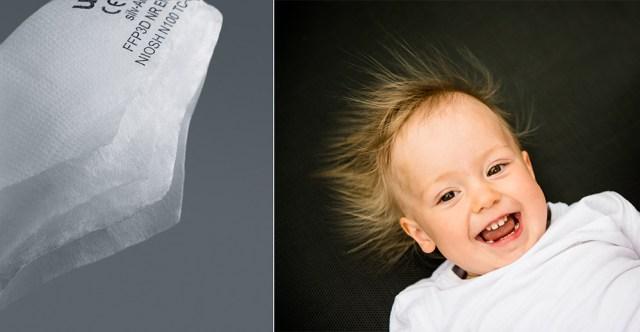 Wie diese Haare laden sich die Fasern im Filtermaterial auf. Die Schadstoffpartikel bleiben hängen.