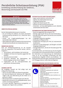 Ermittlung und Beurteilung der Gefahren, Bewertung und Auswahl von PSA