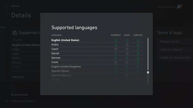 Xbox Supported Languages