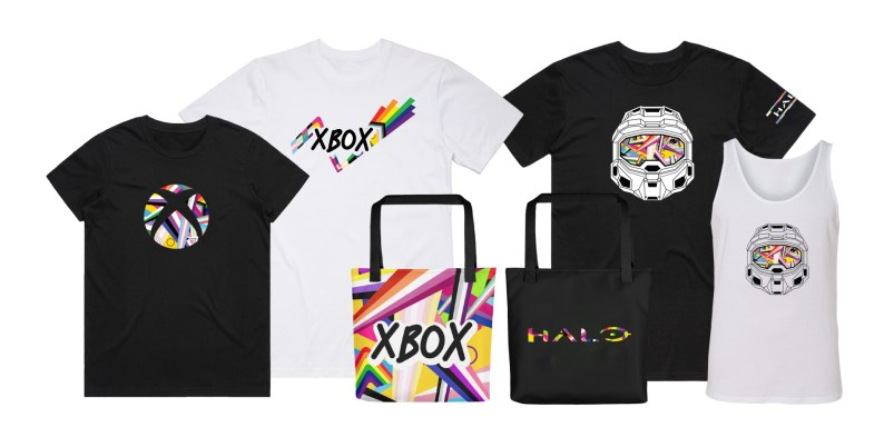 Xbox and Halo Pride themed unisex and women's fit T-shirts, tank tops and eco tote bags