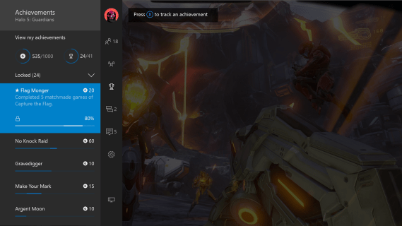 Screenshot of tracked achievement progress in the Xbox One guide