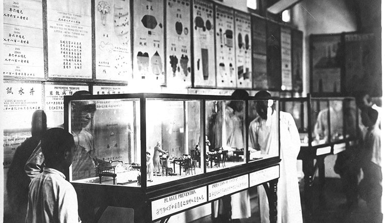 A display on plague prevention in the Whitewright Institute at Shandong Christian University in Jinan, China, ca. 1920.