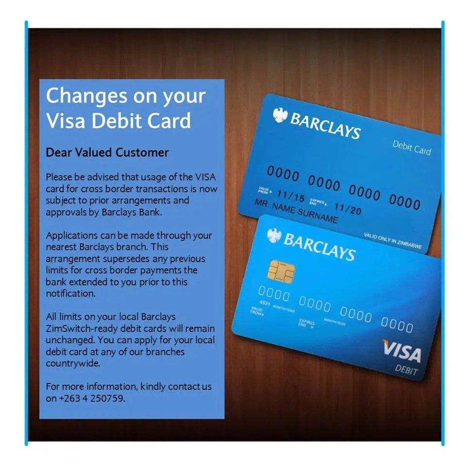 Barclays Bank of Zimbabwe to Ban VISA card for cross border ...