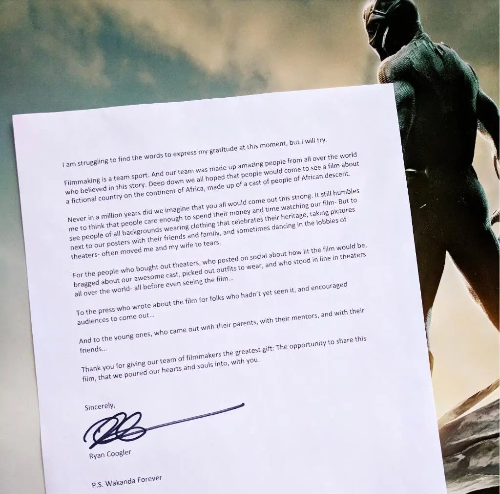 BlackPanther Director writes heartfelt Letter to Fans