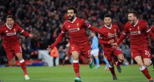 Salah celebrates after scoring against Man City