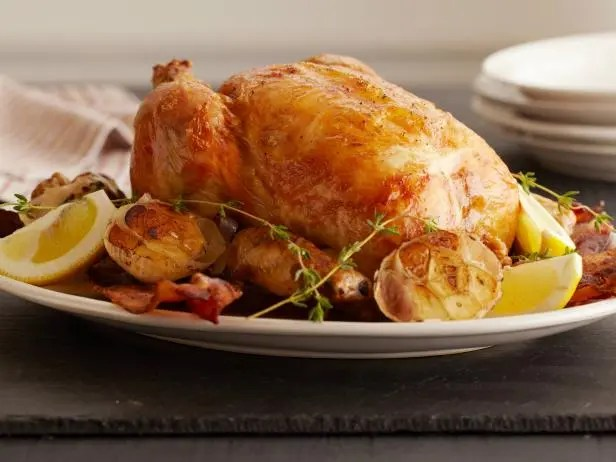 Lemon and garlic-roasted chicken
