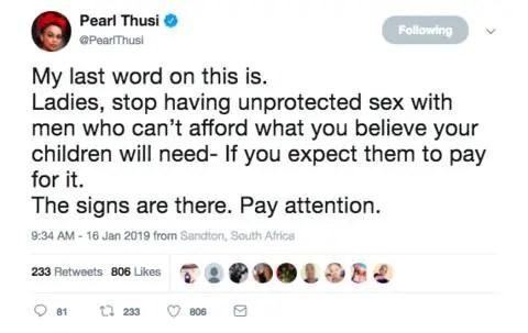 Pearl Thusi tweets