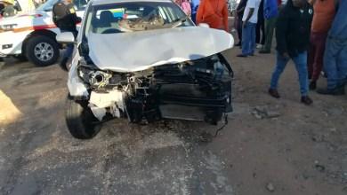 Photo of Taxi crashes into car, knocks down two pedestrians then crashes into shop in Kagiso