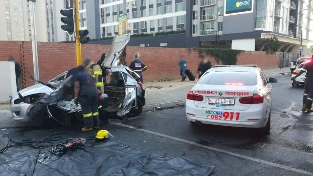 Woman critically injured in Sandton crash