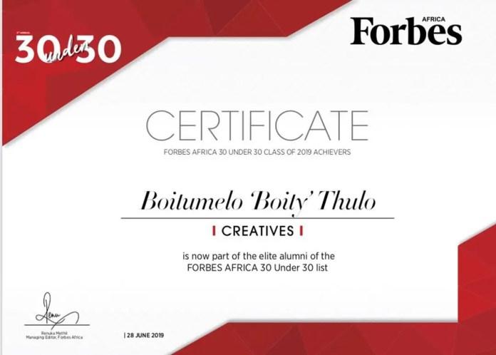 Boity's Certificate