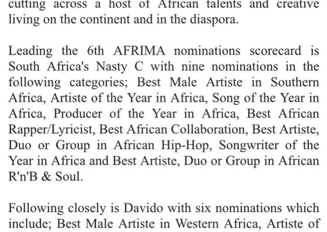 Nasty C AFRIMA nominations