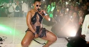 Zodwa Wabantu being touched on stage