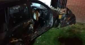 driver trapped in car