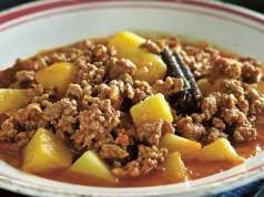 mince and boiled potatoes