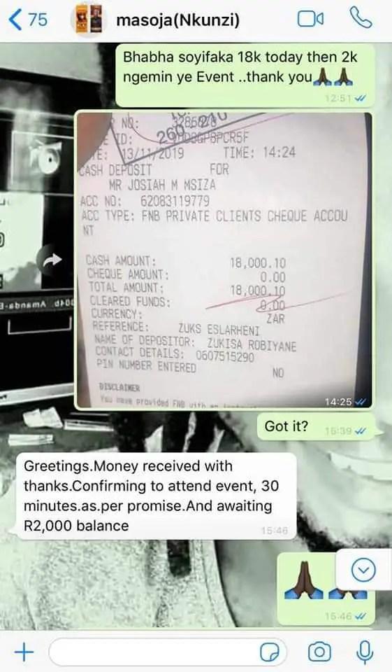 Masoja Msiza steals R18 000