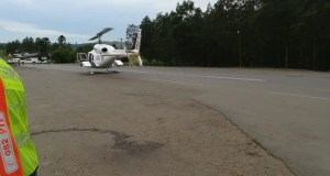 Woman airlifted
