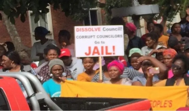 Members of the Unemployed People's Movement protest outside the High Court in Makhanda