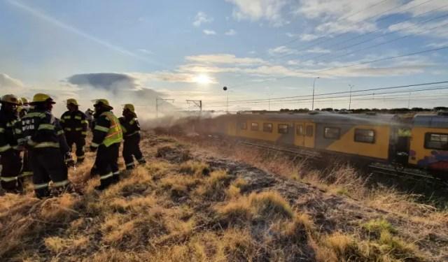 Metrorail train on fire in Cape Town