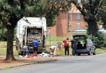 rubbish at the gates of the Emfuleni Local Municipality offices in Vanderbijlpark