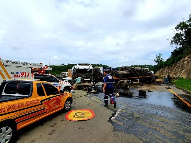Truck crash forces road closure