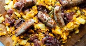 Bangers and sweet potato mash