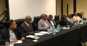 Health Minister Zweli Mkhize, Home Affairs Minister Aaron Motsoaledi, ANC International Relations Chair Minister Lindiwe Zulu, Department of International Relations and SANDF lead the coronavirus briefing