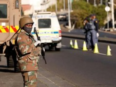 SANDF members patrol during Lockdown