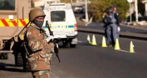 SANDF members patrol during Lockdown