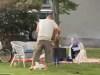 White families braaiing on the street