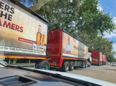 South African Breweries (SAB) trucks stopped