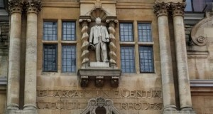A statue of Cecil Rhodes, a controversial historical figure, outside of Oriel College in Oxford