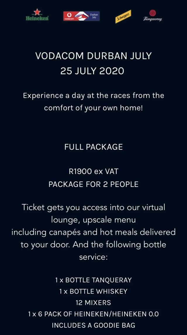Vodacom Durban july cost