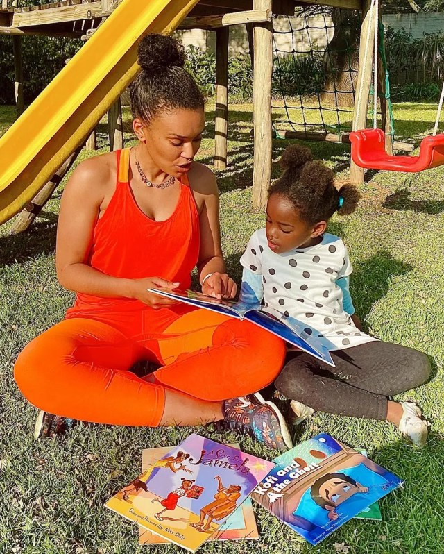 Pearl Thusi and Daughter