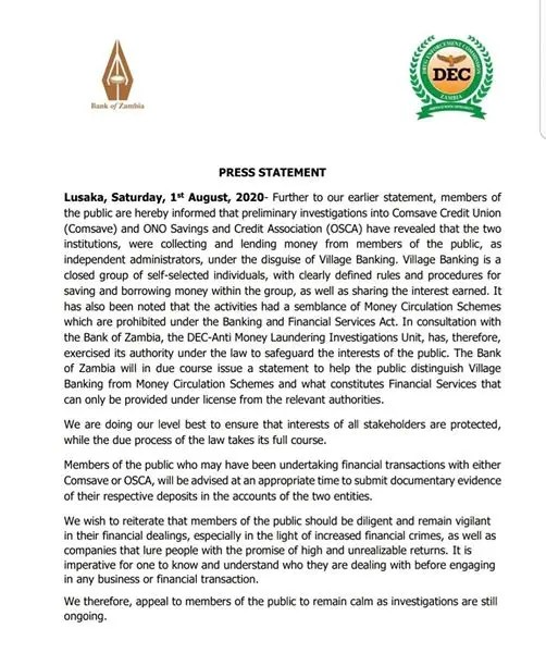 Comsave and UNO have released a statement on their activities of money circulation which is illegal